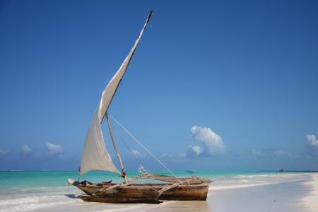 zanzibar: Zeilboot, in een lagune op oceaan  Stockfoto