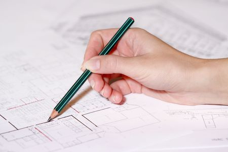 tabulation: Hand drawing architectural plan of house with pencil
