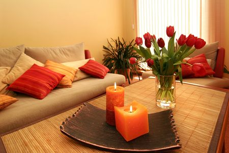 Beautiful room interior with flowers and candles Stock Photo - 3920622