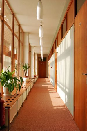 Passageway with deep view in hotel photo