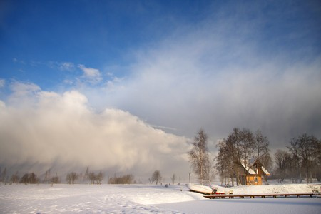 Impressive winter landscape with dark clouds over sky Stock Photo - 4123512