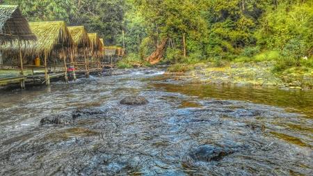 raft: Raft stream waterfall Stock Photo