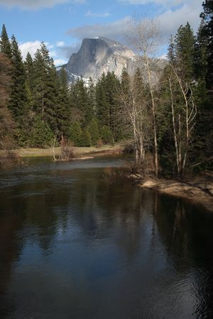 merced: Half Dome with the Merced River in the foreground