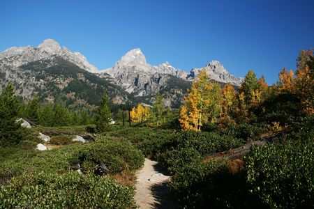 A hiking trail in the Grand Tetons Stock Photo