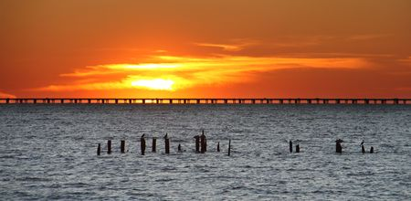 Causeway over Lake Pontchartrain at sunset