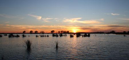 north shore: A view of Lake Pontchartrain from the north shore at sundown