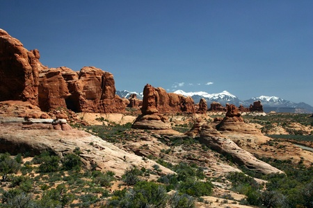 A view of Arches National Park and the La Sal Mountains