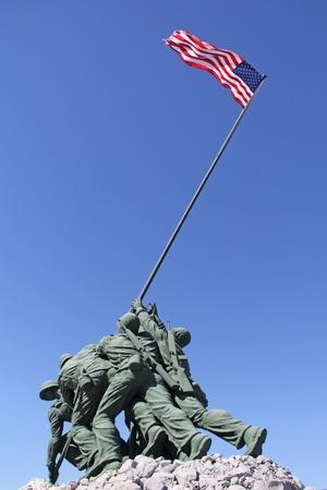 Iwo Jima Memorial against a clear, blue sky Editorial