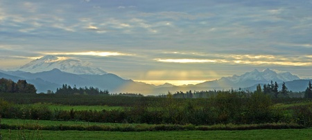 A panorama of Mt Baker Twin Sisters Mt
