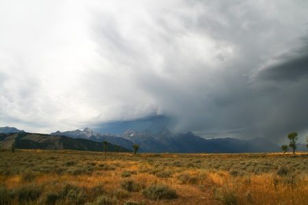 Storm clouds moving in over Jackson Hole
