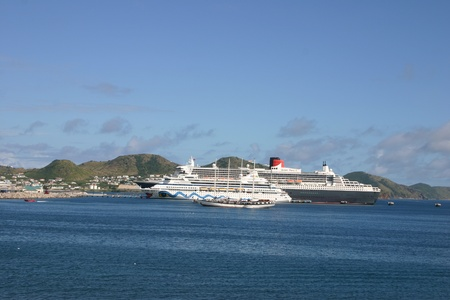 St Thomas, Vigin Islands, January 19,2005 - Cruise shipsin port including the Queen Mary II