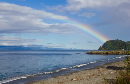 A rainbow over Puget Sound