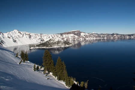 A winter view of Crater Lake  Stock Photo