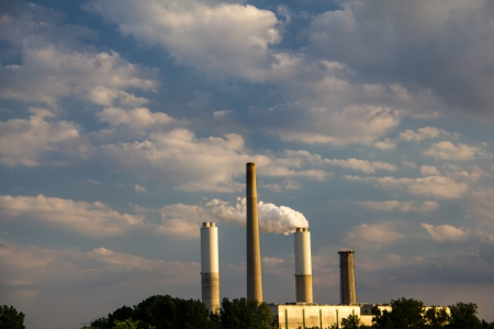 The stacks of a coal fired power plant Stock Photo