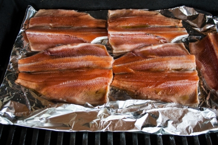 Salmon fillets on the grille