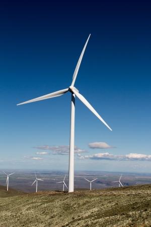 Windmills at a wind generation farm Stock Photo