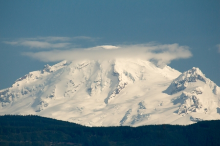 Steam rising from the vent on Mt Baker