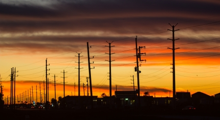 An evening sky over Jamaica Beach on Galveston Island Stock Photo