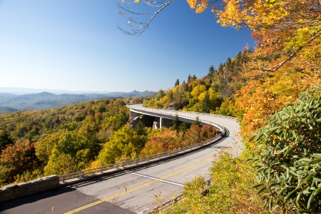 An autumn view of the Linn Cove Viaduct
