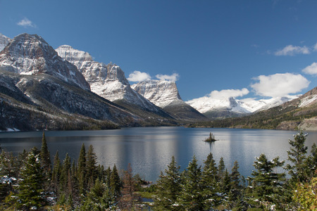 A view of Goat Island in St Mary's Lake in Glacier National Park Stock Photo - 33574927