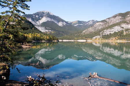 A view of beautiful Barrier Lake in the mountains of western Alberta Stock Photo