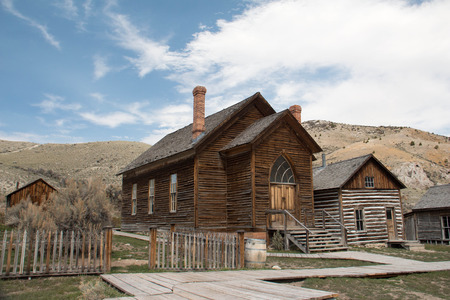 Abandoned buildings in a Montana ghost town Stock Photo