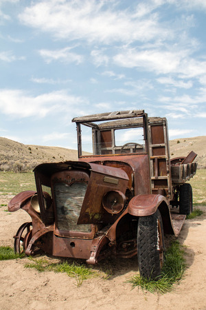 The rusted hulk of an old truck Stock Photo