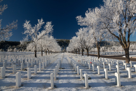 A view of the Black Hills National Cemetery on a frosty winter morning