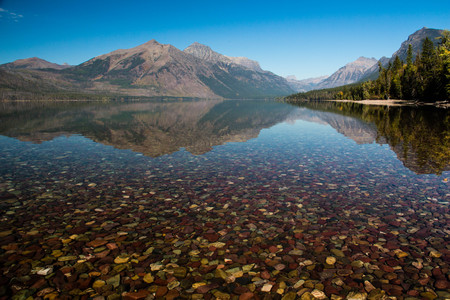 forground: A view of Lake McDonald in Glacier National Park with the stony bottom in the forground