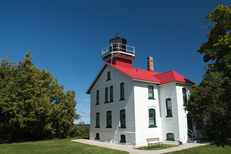 A view of the historic Grand Traverse Lighthouse in upper Michigan Stock Photo - 69962206