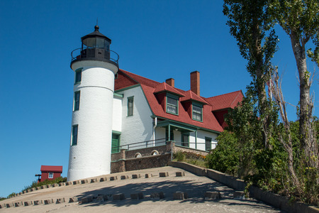 A view of the historic Point Betsie Lighthouse on the Lake Michigan shore in northern Michigan Editorial