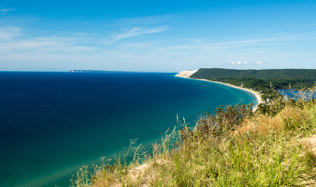 A beautiful view of the Sleeping Bear Dune National Seashore coast Stock Photo - 69966683