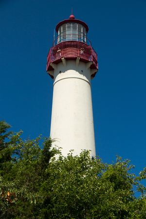 A view of the historic Cape May Lighthouse on the New Jersey coast Stock Photo
