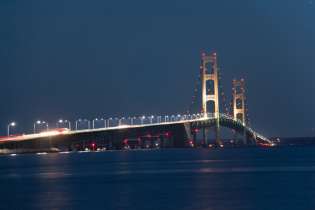 A night view of the Mackinac Bridge