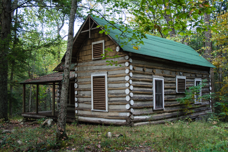 An old abandoned building in the Elkmont Historic District in Great Smoky Mountain National Park Stock Photo - 99432230