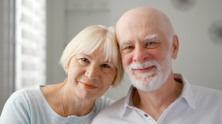 Portrait of happy senior couple at home. Very emotional moment. Happy family enjoying time together on retirement.