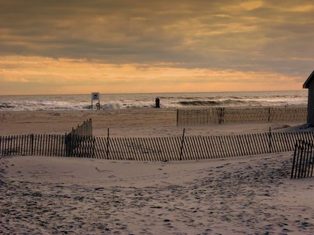 andamp: Sunset at Jones Beach NY Stock Photo
