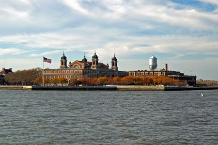 forefathers: View of Ellis Island from boat Stock Photo