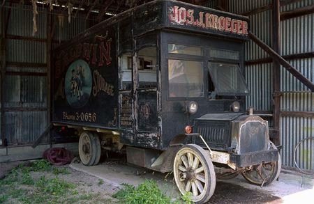 moving van: Very Old Black Moving Van early 20th Century