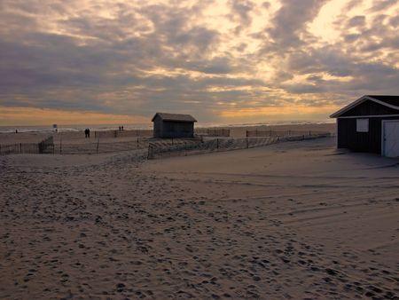 jones: Cabins at Sunset at Jones Beach, New York
