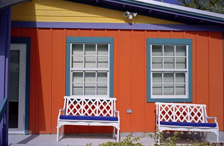 Brightly colored Beach House ay Coco Cay