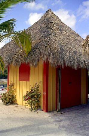 Colorful Beach Hut with Straw roof at Coco Cay Stok Fotoğraf