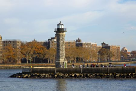 east river: Queens Lighthouse on the East River, New York City Stock Photo