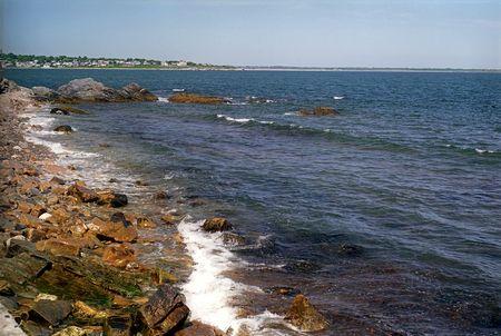 ri: Breaking Waves off the Cliff Walk at Newport, RI