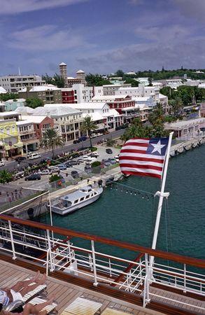 bermuda: View of Hamilton, Bermuda from a Cruise Ship Stock Photo