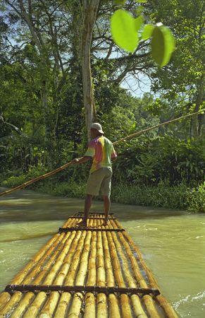 Raft Captain rafting on river in Ochos Rios