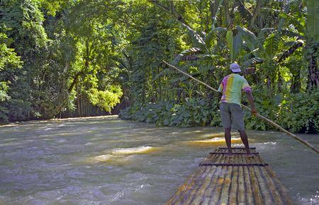 Raft Captain on the River in Ochos Rios