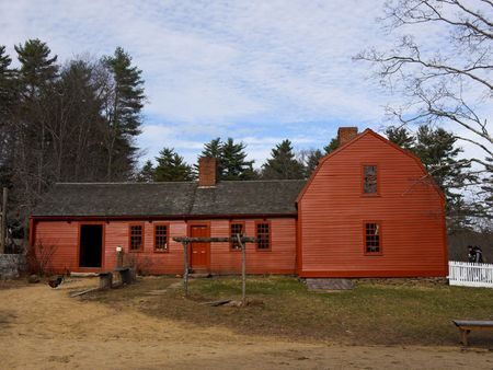 farm structure: A very old Red Colonial Home in New England