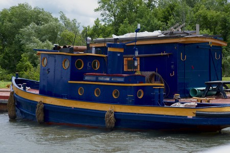 erie: A docked Tugboat along the Erie Canal