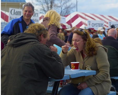 Couple eating Oyster Bisque at Oyster Fest in Oyster Bay, NY 101511